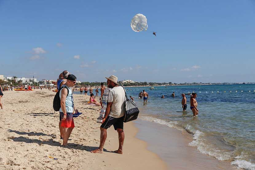 Tourists at the Hammamet Beach