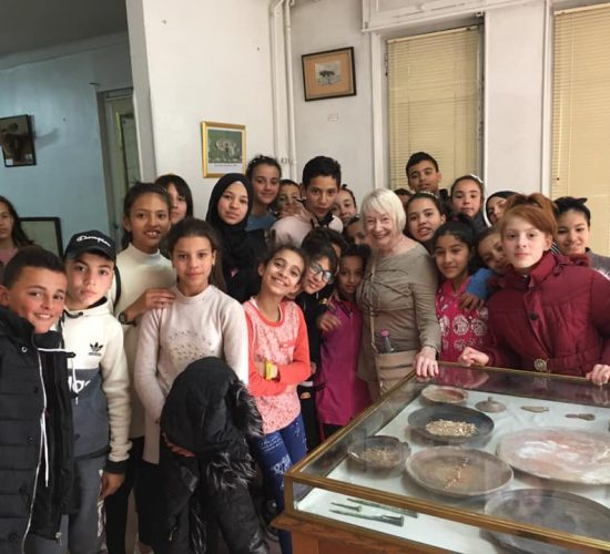 Dawn with kids in Algerian museum