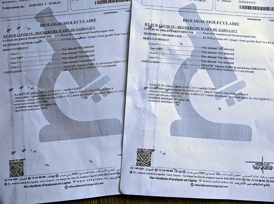tunisia quarantine hotel covid-19 pcr test certificate